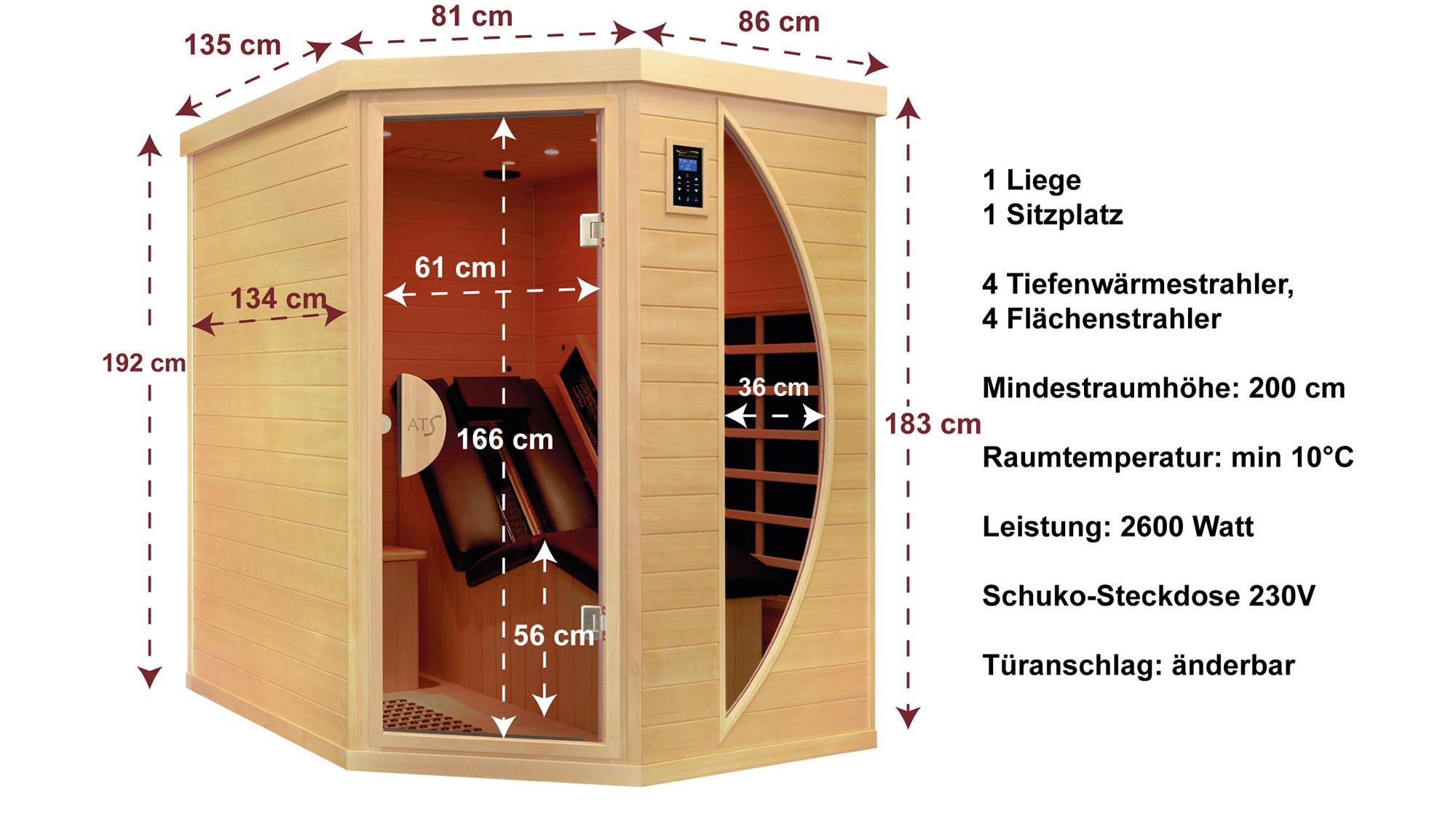 liegekabine ats relax 1 r die premium infrarotkabine mit tiefenw rme. Black Bedroom Furniture Sets. Home Design Ideas